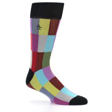 Image of Black Multi Checkered Men's Dress Socks (side-1-25)