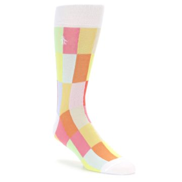 Image of White Multi Checkered Men's Dress Socks (side-1-front-01)