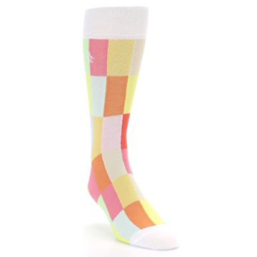 Image of White Multi Checkered Men's Dress Socks (side-1-front-02)