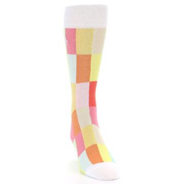 Image of White Multi Checkered Men's Dress Socks (side-1-front-03)