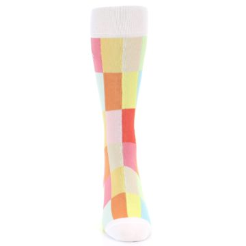 Image of White Multi Checkered Men's Dress Socks (front-04)