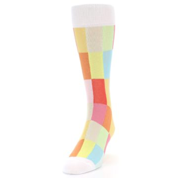 Image of White Multi Checkered Men's Dress Socks (side-2-front-06)
