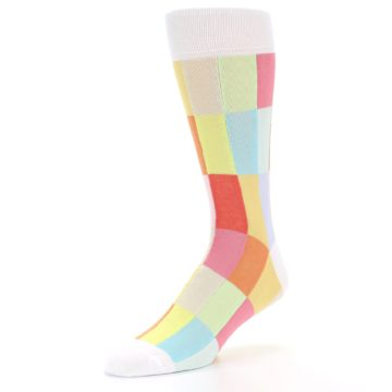 Image of White Multi Checkered Men's Dress Socks (side-2-front-08)