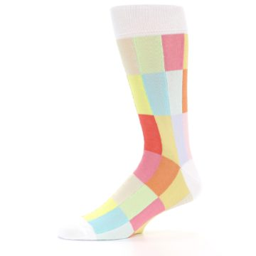 Image of White Multi Checkered Men's Dress Socks (side-2-10)