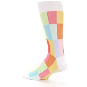 Image of White Multi Checkered Men's Dress Socks (side-2-13)
