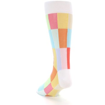 Image of White Multi Checkered Men's Dress Socks (side-2-back-15)
