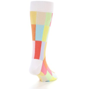 Image of White Multi Checkered Men's Dress Socks (back-19)