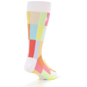 Image of White Multi Checkered Men's Dress Socks (side-1-back-20)