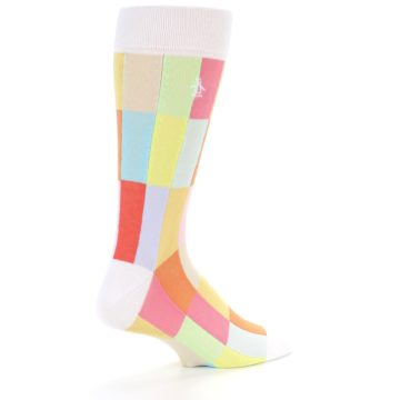 Image of White Multi Checkered Men's Dress Socks (side-1-back-21)