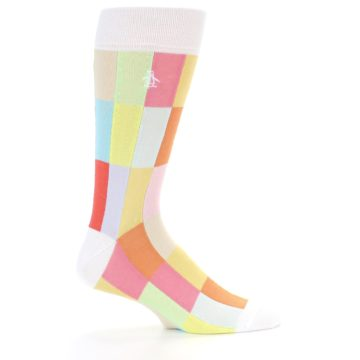 Image of White Multi Checkered Men's Dress Socks (side-1-23)