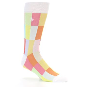 Image of White Multi Checkered Men's Dress Socks (side-1-25)