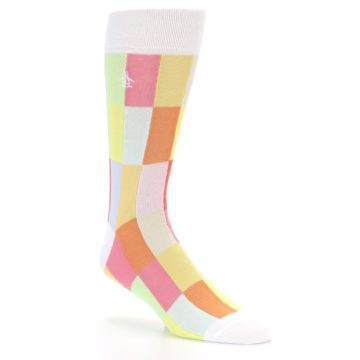 Image of White Multi Checkered Men's Dress Socks (side-1-26)