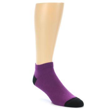 Image of Purple Solid Color Men's Ankle Socks (side-1-front-01)