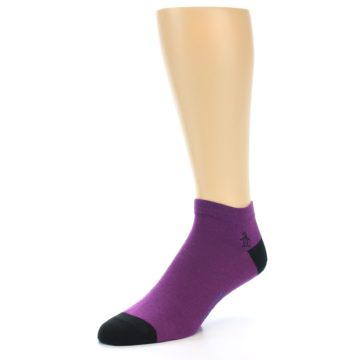 Image of Purple Solid Color Men's Ankle Socks (side-2-09)