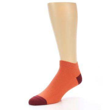 Image of Orange Solid Color Men's Ankle Socks (side-2-09)