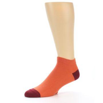 Image of Orange Solid Color Men's Ankle Socks (side-2-10)