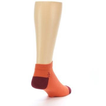 Image of Orange Solid Color Men's Ankle Socks (side-1-back-21)