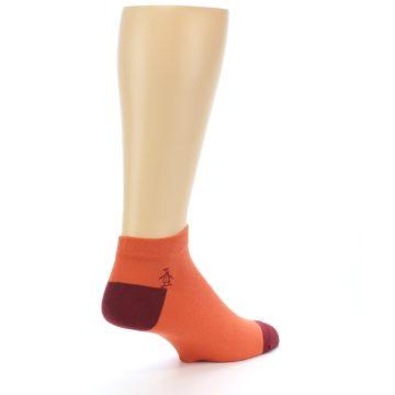 Image of Orange Solid Color Men's Ankle Socks (side-1-back-22)