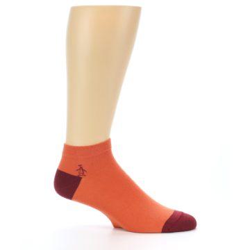 Image of Orange Solid Color Men's Ankle Socks (side-1-25)