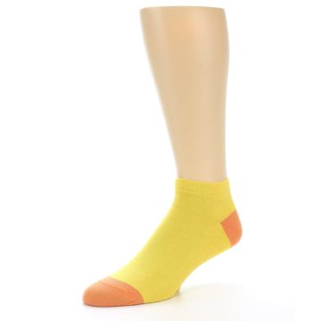 Image of Yellow Solid Color Men's Ankle Socks (side-2-09)