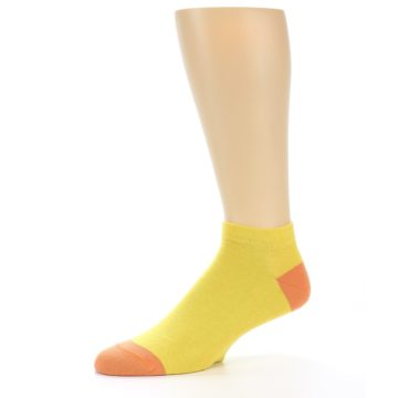 Image of Yellow Solid Color Men's Ankle Socks (side-2-10)