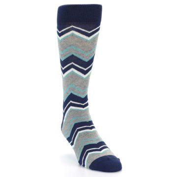 Image of Navy Grey Zig-Zag Stripe Men's Dress Socks (side-1-front-02)