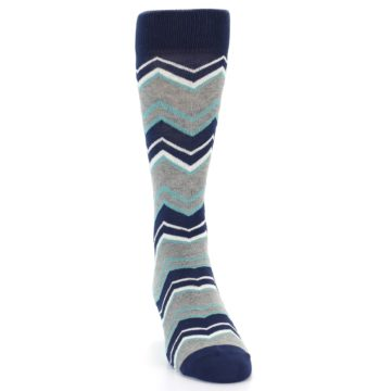 Image of Navy Grey Zig-Zag Stripe Men's Dress Socks (side-1-front-03)