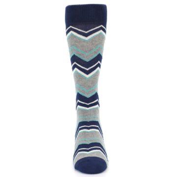 Image of Navy Grey Zig-Zag Stripe Men's Dress Socks (front-04)