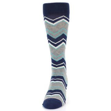 Image of Navy Grey Zig-Zag Stripe Men's Dress Socks (front-05)