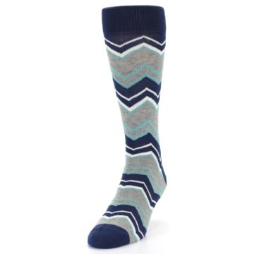 Image of Navy Grey Zig-Zag Stripe Men's Dress Socks (side-2-front-06)
