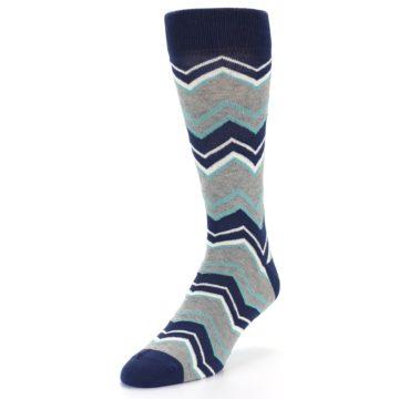 Image of Navy Grey Zig-Zag Stripe Men's Dress Socks (side-2-front-07)