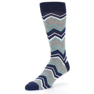 Image of Navy Grey Zig-Zag Stripe Men's Dress Socks (side-2-09)