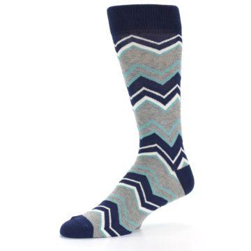 Image of Navy Grey Zig-Zag Stripe Men's Dress Socks (side-2-10)