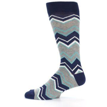Image of Navy Grey Zig-Zag Stripe Men's Dress Socks (side-2-12)