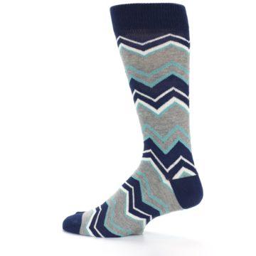 Image of Navy Grey Zig-Zag Stripe Men's Dress Socks (side-2-13)