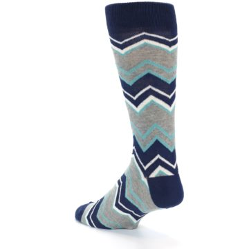 Image of Navy Grey Zig-Zag Stripe Men's Dress Socks (side-2-back-15)
