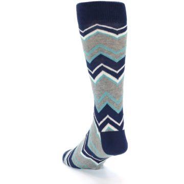 Image of Navy Grey Zig-Zag Stripe Men's Dress Socks (side-2-back-16)