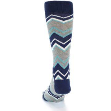 Image of Navy Grey Zig-Zag Stripe Men's Dress Socks (back-17)