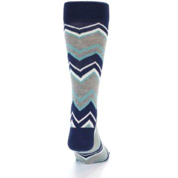Image of Navy Grey Zig-Zag Stripe Men's Dress Socks (back-19)
