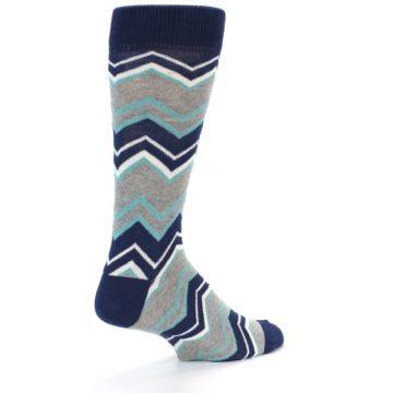 Image of Navy Grey Zig-Zag Stripe Men's Dress Socks (side-1-back-22)