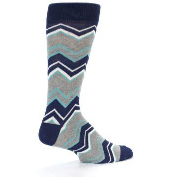 Image of Navy Grey Zig-Zag Stripe Men's Dress Socks (side-1-23)