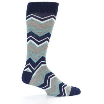 Image of Navy Grey Zig-Zag Stripe Men's Dress Socks (side-1-24)