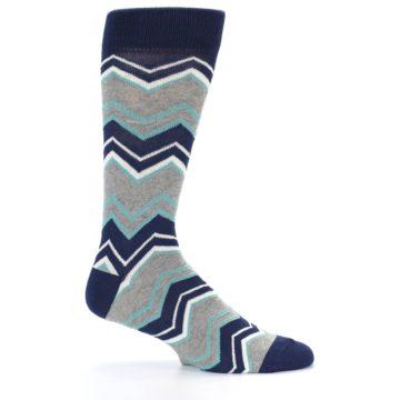 Image of Navy Grey Zig-Zag Stripe Men's Dress Socks (side-1-25)