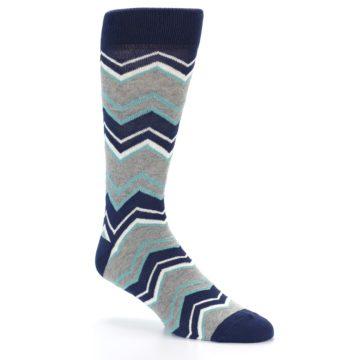 Image of Navy Grey Zig-Zag Stripe Men's Dress Socks (side-1-27)