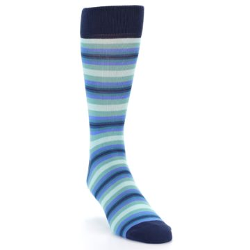 Image of Navy Blues Seafoam Stripe Men's Dress Socks (side-1-front-02)