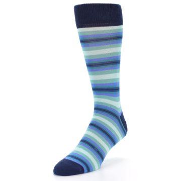 Image of Navy Blues Seafoam Stripe Men's Dress Socks (side-2-front-07)