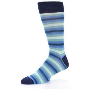 Image of Navy Blues Seafoam Stripe Men's Dress Socks (side-2-09)