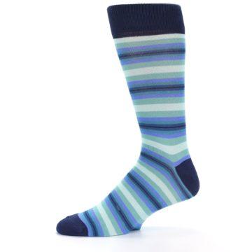 Image of Navy Blues Seafoam Stripe Men's Dress Socks (side-2-10)