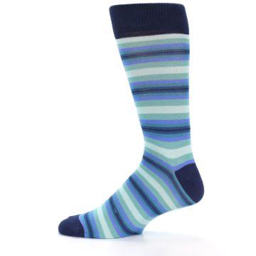 Image of Navy Blues Seafoam Stripe Men's Dress Socks (side-2-11)