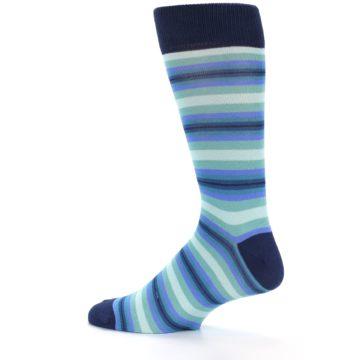 Image of Navy Blues Seafoam Stripe Men's Dress Socks (side-2-12)